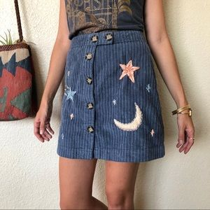 Hand Embroidered Corduroy Button Up Skirt